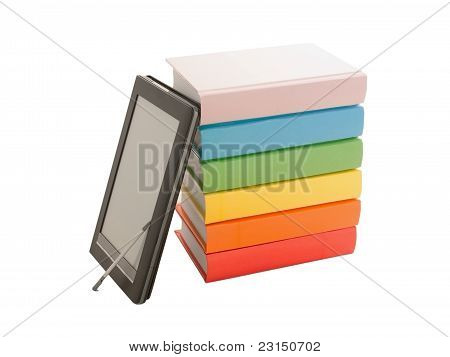 Stack Of Colorful Books And Electronic Book Reader Isolated On White
