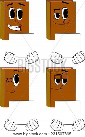 Books Holding White Box. Cartoon Book Collection With Happy Faces. Expressions Vector Set.