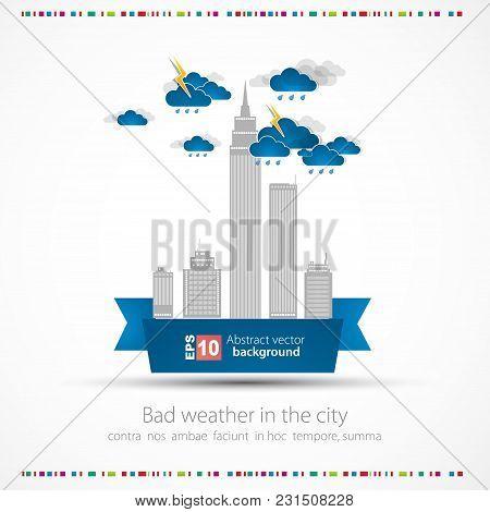Rainy Weather Background. City Theme Vector Illustration