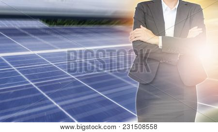 Business Woman On Solar Energy Background. Business About Natural Energy Concept.