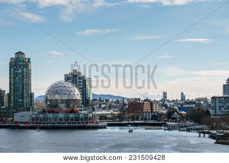 Vancouver Canada - February 18, 2018: Modern Architecture And Appartment Buildings In Vancouver Cana