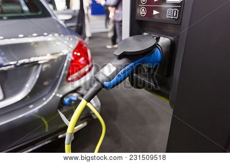 Nonthaburi Thailand:- April 6, 2017: New Automotive Innovations, The Charging The Battery For The Me