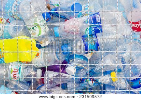 Bangkok Thailand:- January 21, 2018:- Many Plastic Bottles For Recycling Will Be Recycled, Concept O