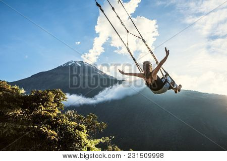 Banos, Ecuador - November 22, 2017: The Swing At The End Of The World Located At Casa Del Arbol, The