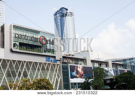 Bangkok Thailand - March 15 2018: Front Of Central World. Centralworld Is A Shopping Plaza And Compl