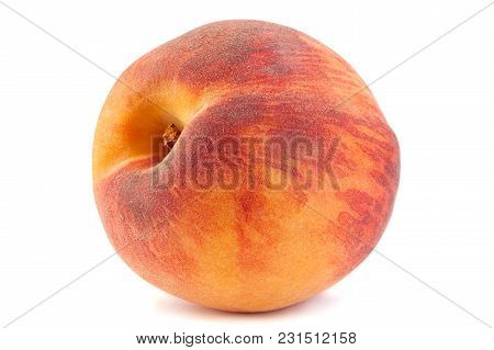 Peach Fruit Closeup Isolated On White Background