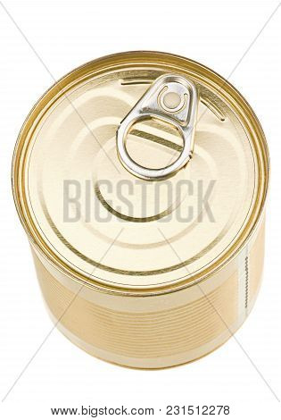 Yellow Metal Can For Preserve Isolated On White