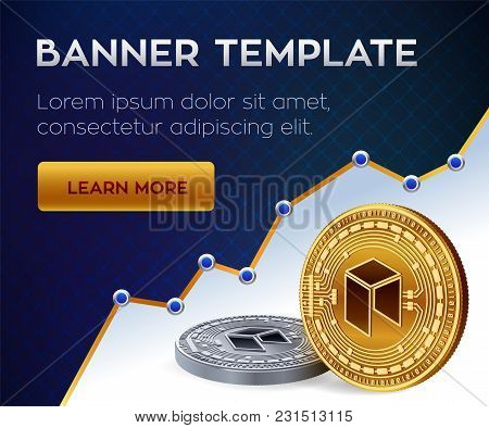 Cryptocurrency Editable Banner Template. Neo. 3d Isometric Physical Bit Coin. Golden And Silver Neo