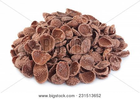 Cocoa Corn Flakes In Sugar Glazed Isolated On White