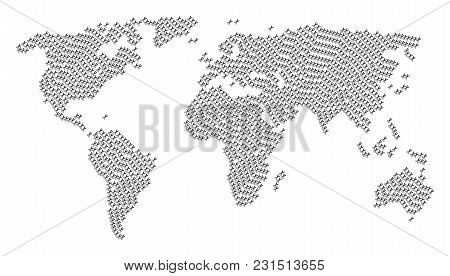 Global World Atlas Concept Created Of Scissors Pictograms. Vector Scissors Icons Are Organized Into