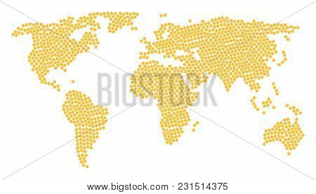 Continental Map Concept Organized Of Six Pointed Star Design Elements. Vector Six Pointed Star Items
