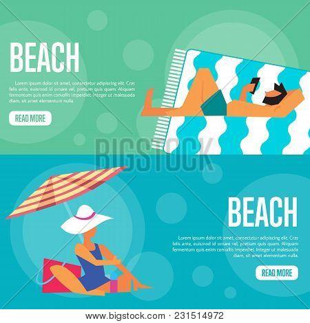 Beach Vector Illustration. Man Using Smartphone On Beach Mat On Green Background. Woman Under Beach