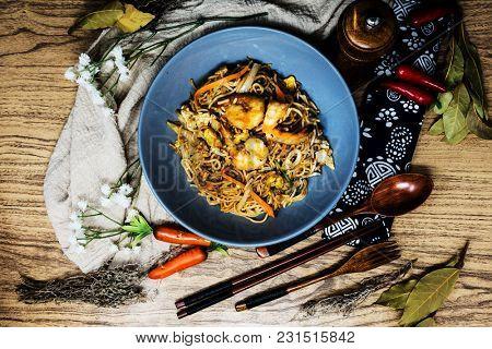 fried Shrimp noodle food on the table