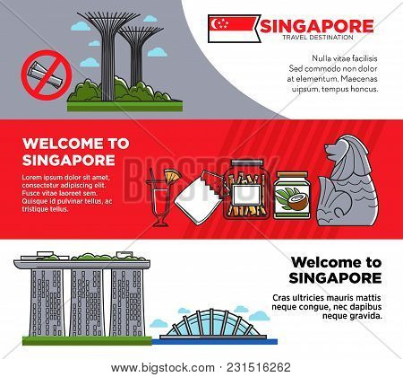 Welcome To Singapore Promotional Posters With Unusual Architecture And Food. Journey To High Develop