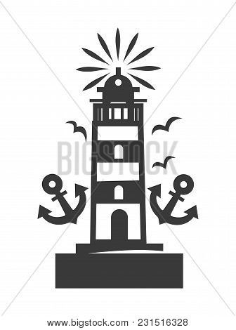 Tall Beacon With Bright Light On Top Surrounded With Gulls And Two Anchors Silhouette. Marine Stripe