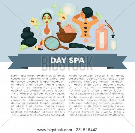 Day Spa Service That Include Skincare Procedures Promo Banner With Sample Text. Massage With Hot Sto