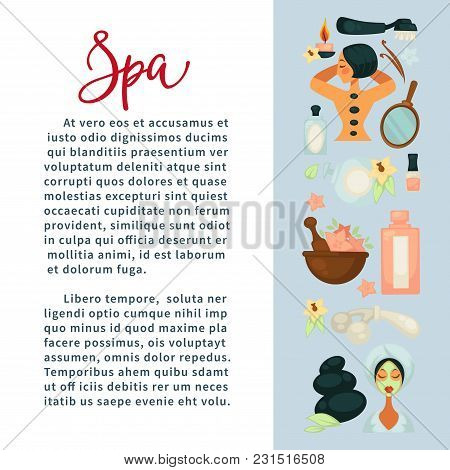 Spa Services Promotional Banner With Beauty Means And Sample Text. Hot Stone Massage, Facial Mask, S