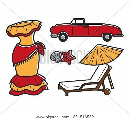Cuba Traditional Bright National Symbols Set. Dress For Flamenco, Vintage Roofless Car, Seashell Wit