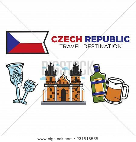 Czech Republic Travel Destination Promotional Poster With National Flag. Expensive Crystal Wineglass