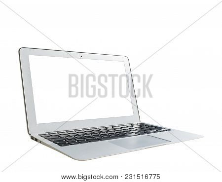 Laptop Computer Pc With Blank Screen Mock Up Isolated On White Background. Laptop Isolated Screen. T