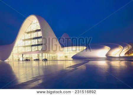 Baku, Azerbaijan - January 05, 2018: Heydar Aliyev Center In The Evening Of January
