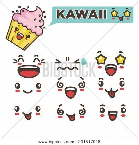 Kawaii Tasty Cupcake With Creamy Strawberry Top And Spare Emotional Faces Set. Happiness And Surpris