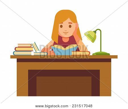 Girl Sits At Table With Books And Reads. School Girl At Library With Lamp And Textbooks. Little Chil