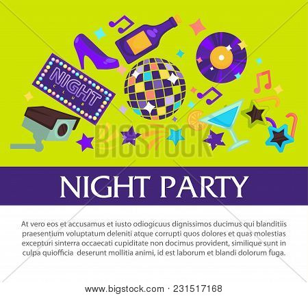 Night Party Promotional Banner With Sample Text. Shiny Disco Ball, Vintage Vinyl Disc, Bottle Of Cha