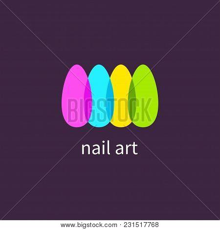 Manicure Salon. Logo, Icon Art Nails, Colored, Colorful Nail Polish Vector Illustration