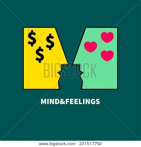 Conflict Of Mind And Feelings. Icon Marriage Contract,  Gigolo. Vector Illustration