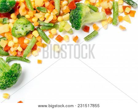 Frozen Vegetables Assorted Isolated On White With Clipping Path. Frosen Vegetables With Ice Isolated