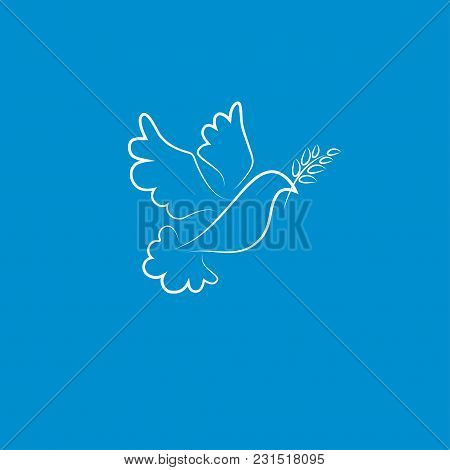 White Dove With Olive Branch Flying In The Sky. Symbol Of Peace. Vector Illustration