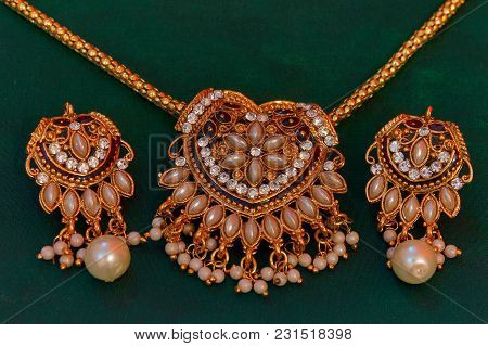Gold And Diamond Necklace, Earrings Set At Pune