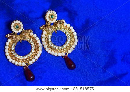 Close View Of Golden Earrings At Pune