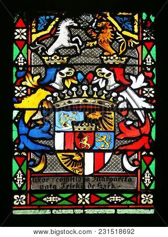 ZAGREB, CROATIA - APRIL 07: Coat of arms of Countess Telleki, stained glass in Zagreb cathedral dedicated to the Assumption of Mary in Zagreb on April 07, 2015
