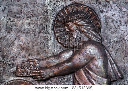 VARAZDIN, CROATIA - OCTOBER 25: Jesus in heaven handing the crown to Joseph for his faithful service, Saint Joseph parish church in Varazdin, Croatia on October 25, 2012.