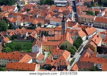 VARAZDIN, CROATIA - JULY 09: Aerial view of Varazdin, city in northwestern Croatia, on July 09, 2016.