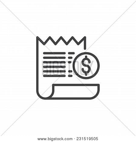 Bill With Dollar Coin Outline Icon. Linear Style Sign For Mobile Concept And Web Design. Billing Pay