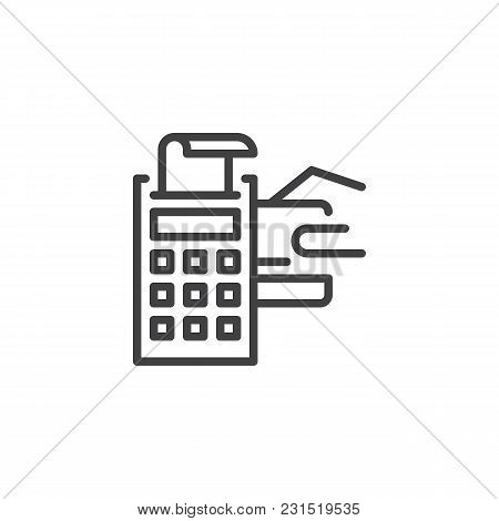 Pos Terminal With Credit Card And Receipt Outline Icon. Linear Style Sign For Mobile Concept And Web