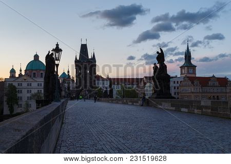 Charles Bridge In The Morning, Prague, Czech Republic