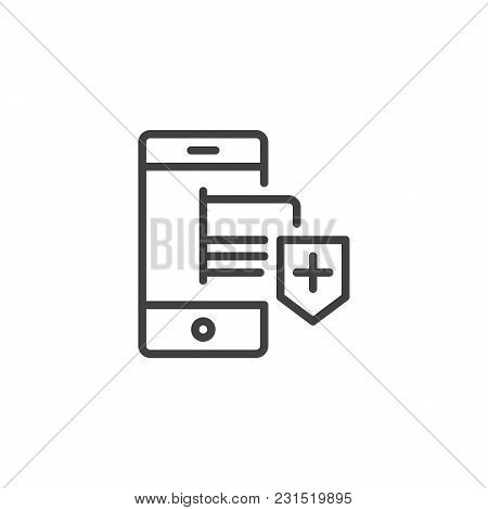 Mobile Phone With Credit Card And Secure Shield Outline Icon. Linear Style Sign For Mobile Concept A