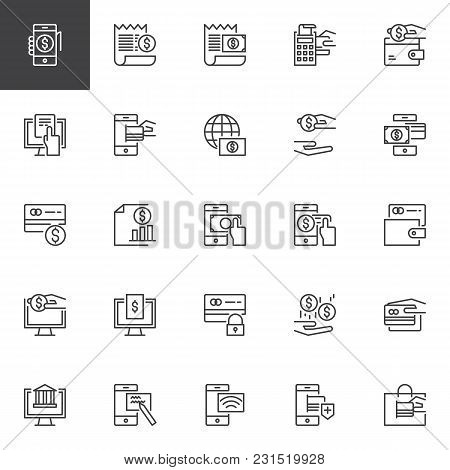 Payment Methods Outline Icons Set. Linear Style Symbols Collection, Line Signs Pack. Vector Graphics