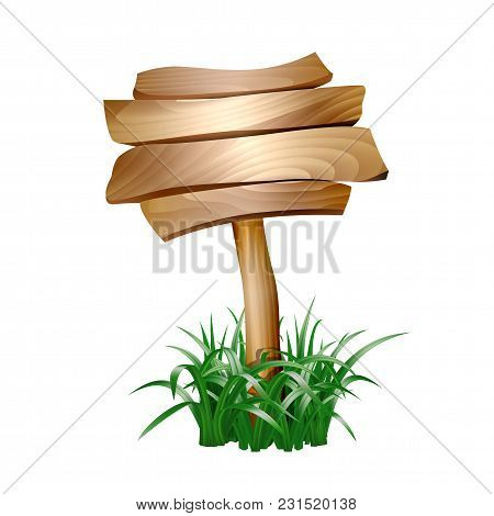 Wooden Sign In Grass Isolated On White Background. Vector Illustration
