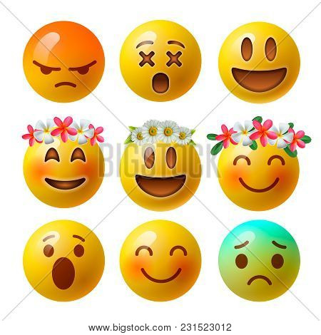 Smiley Face Emoji Or Yellow Emoticons In Glossy 3d Realistic Isolated In White Background, Vector Il