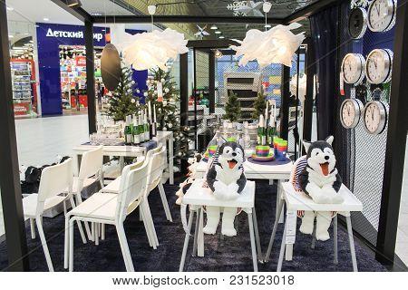 St. Petersburg, Russia - 21 December, Interior With Original Lamps, 21 December 2017. Festive Design