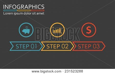 3 Steps, Options, Stages Or Levels. Step By Step Infographics Template. Vector Illustration.