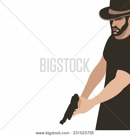 A Man With A Gun Vector Illustration Flat Style Profile Side