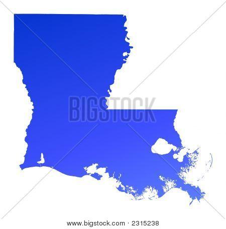 Blue Gradient Louisiana Map, Usa