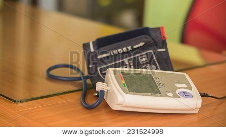 Soft Focus Of Body Pressure Gauge. Health Care Tools