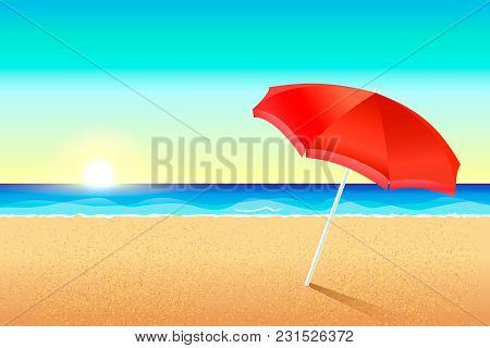Beautiful Vector Beach. Sunset Or Dawn On The Coast Of The Sea. A Red Umbrella Stands In The Sand. T